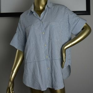 MADEWELL Blue White Striped Button Down Shirt M